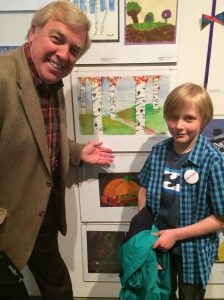 George at the 'Arts Alive' show at the Southern Alberta Art Gallery, posing with Mayor Spearman